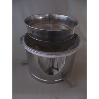 Komfort Doppelsieb (Edelstahl-Grobsieb und Nylon-Feinsieb) für Behälter bis 41cm