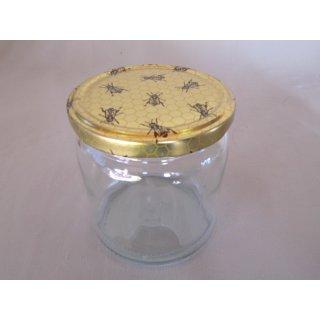 Rundglas 400ml 500g mit 82mm TO-Deckel / Wabenmotiv mit Biene (VE=12 Stück)