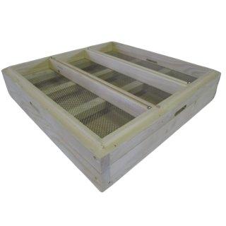 Ablegerboden für DN Holzbeute mit 3 Fluglöchern und Bodenschieber