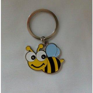 Schlüsselanhänger Metall Biene mit blauen Flügeln