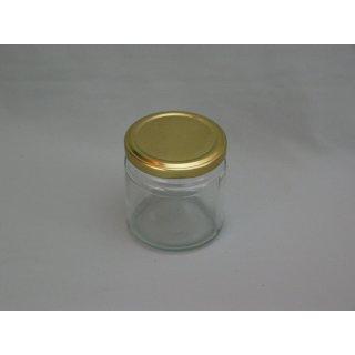 10er Pack-Rundglas 50ml mit Deckel TO 43mm gold
