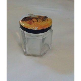 Sechseckglas 45ml mit Deckel 43mm TO Biene (VE=48)