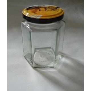 Sechseckglas 196ml (250g) mit Deckel TO 58mm Biene VE=28 Stück