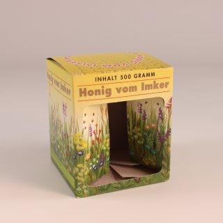 Geschenk-Karton Blumenwiese 1 x 500 g Glas