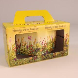 Geschenk-Karton Blumenwiese 2 x 500 g Glas