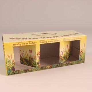 Geschenk-Karton Blumenwiese 3 x 500 g Glas