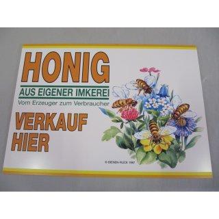 """Werbeschild """"Honig aus eigener Imkerei"""" 68x48cm 6-farb"""