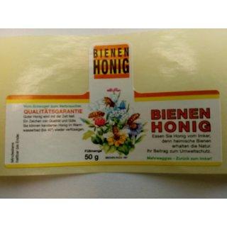 """Honigglas Etikett """"Blüten"""" 50g   - 100Stück nassklebend"""