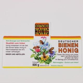 """Honigglas-Etikett """"Blüten"""" 500g -100 Stück nassklebend"""