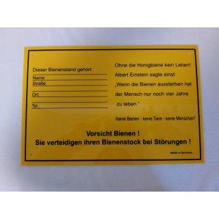 Warn- Infoschild Bienenstand gelb 30x20cm