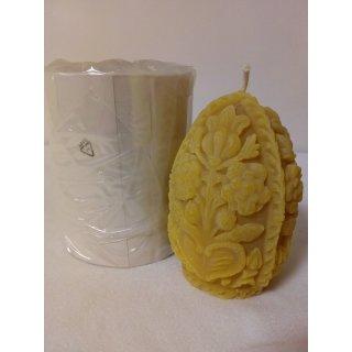 Gießform Zierkerze Ei mit Verzierung 10x8, Docht 8