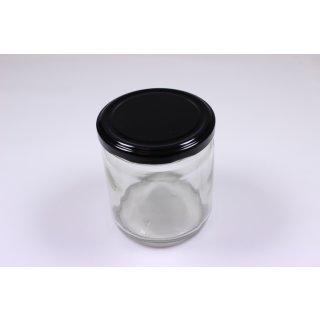 Rundglas 400ml 500g mit 82mm TO-Deckel / schwarz(VE=12 Stück)