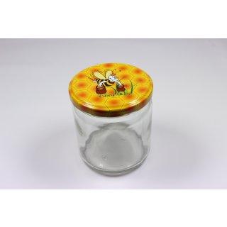 Rundglas 400ml 500g mit 82mm TO-Deckel / Comic-Biene (VE=12 Stück)