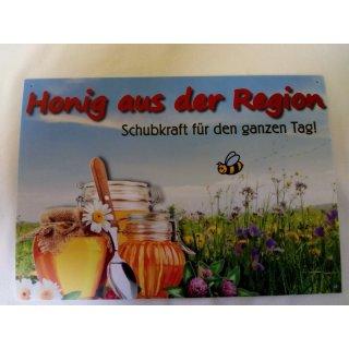 """Werbeschild """"Honig aus der Region"""" Groß 29,7x21cm"""