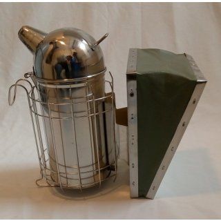 Smoker Edelstahl, 10 cm, Lederblasebalg mit Edelstahl Innendose + Schutzgitter