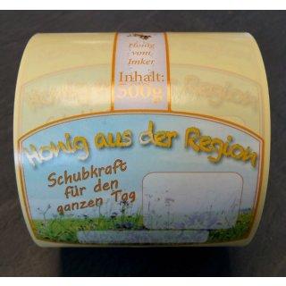 """Steg-Etiketten für 500g """"Honig aus der Region"""" 100 Stück"""