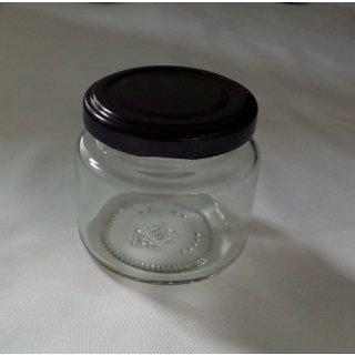 Rundglas 108ml (ca 125g Honig) mit 53mm TO schwarz (VE=48)