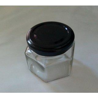 Sechseckglas 106ml (125g) mit Deckel TO 53 schwarz (VE 48)
