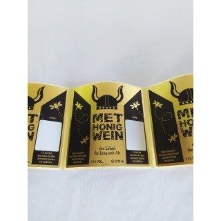Metflaschen Etiketten schwarz/gold 10x10cm, 72 Stück/Rolle