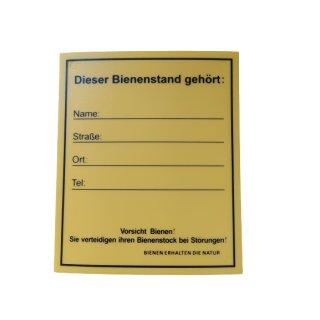 """Infoschild """"Bienenstand"""" 12,5 x 15cm"""