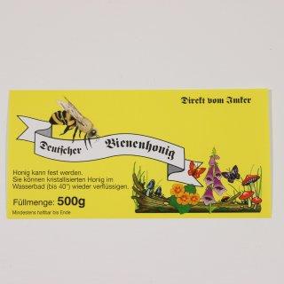 Etikett für 500g, gelb, nassklebend (100 Stück)