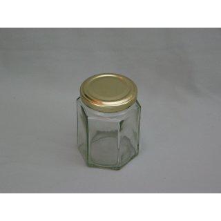 Sechseckglas 196ml (250g) mit Deckel TO 58mm gold VE=28 Stück