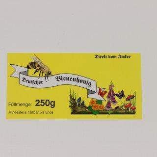 Etikett für 250g, gelb, nassklebend (100 Stück)