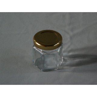Sechseckglas 45ml mit Deckel 43mm TO gold (VE=48)