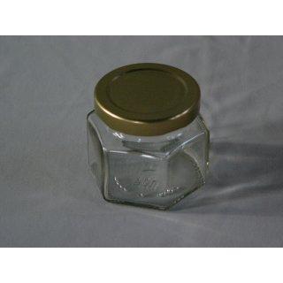 Sechseckglas 106ml (125g) mit Deckel TO 53 gold (VE 48)