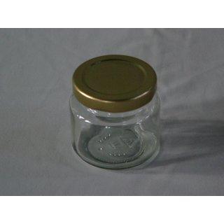 Rundglas 108ml (ca 125g Honig) mit 53mm TO gold (VE=48)