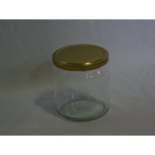 Rundglas 400ml 500g mit 82mm TO-Deckel/ gold (VE=12 Stück)