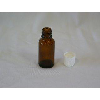 Tropfflasche braun, DIN 18, 20ml mit Tropfmontur weiß