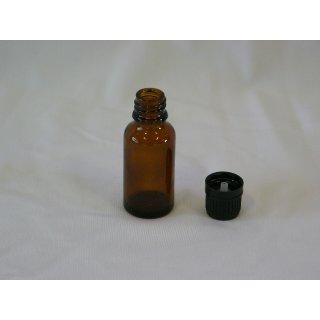 Tropfflasche braun, DIN 18, 20ml mit Tropfmontur schwarz