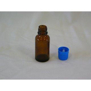 Tropfflasche braun, DIN 18, 20ml mit Tropfmontur blau