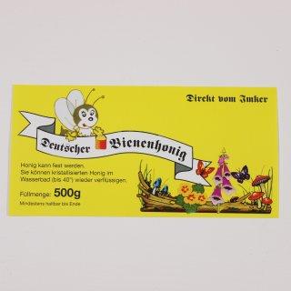Etikett für 500g, gelb, nassklebend (100 Stück) (lustige Biene)