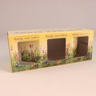 Geschenk-Karton Blumenwiese 3 x 250g Glas
